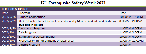 Earthquake Safety Week 2071
